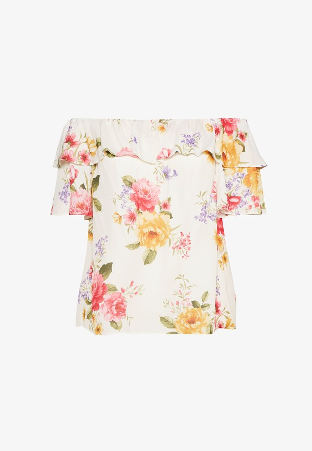 CURVE DOUBLE RUFFLE PRETTY FLORAL BARDOT TOP - Blouse - ivory