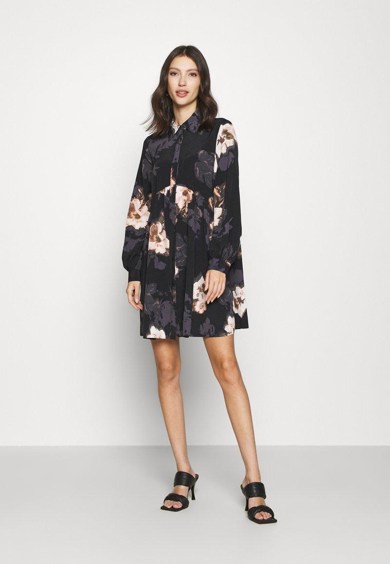 River Island - LISA SMOCK SHIRT DRESS  - Shirt dress - black