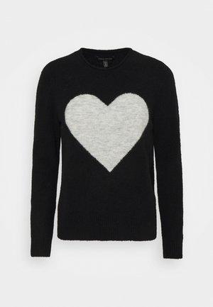 ROLL NECK CREW INTARSIA HEART - Stickad tröja - black