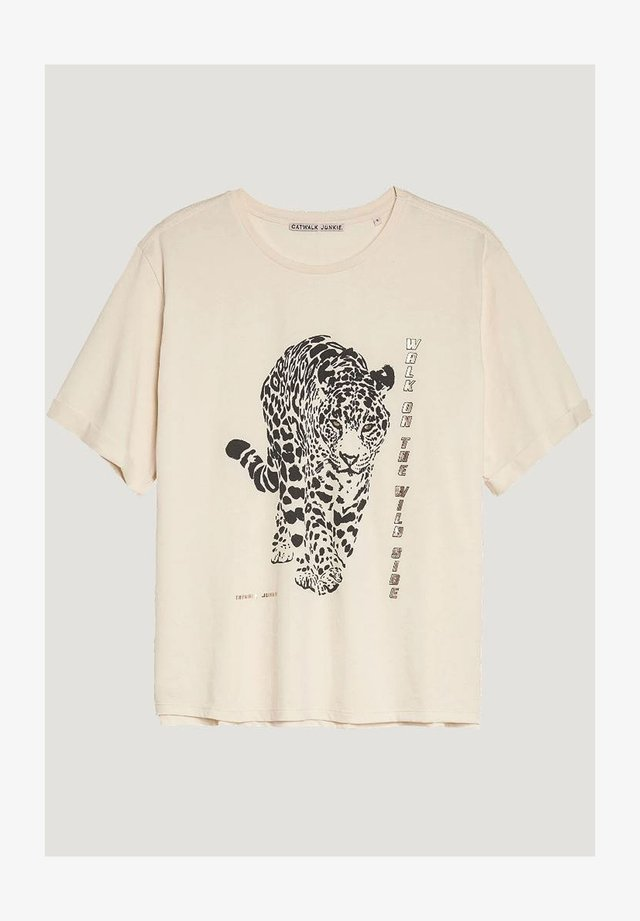 HUNTING - Print T-shirt - white sand