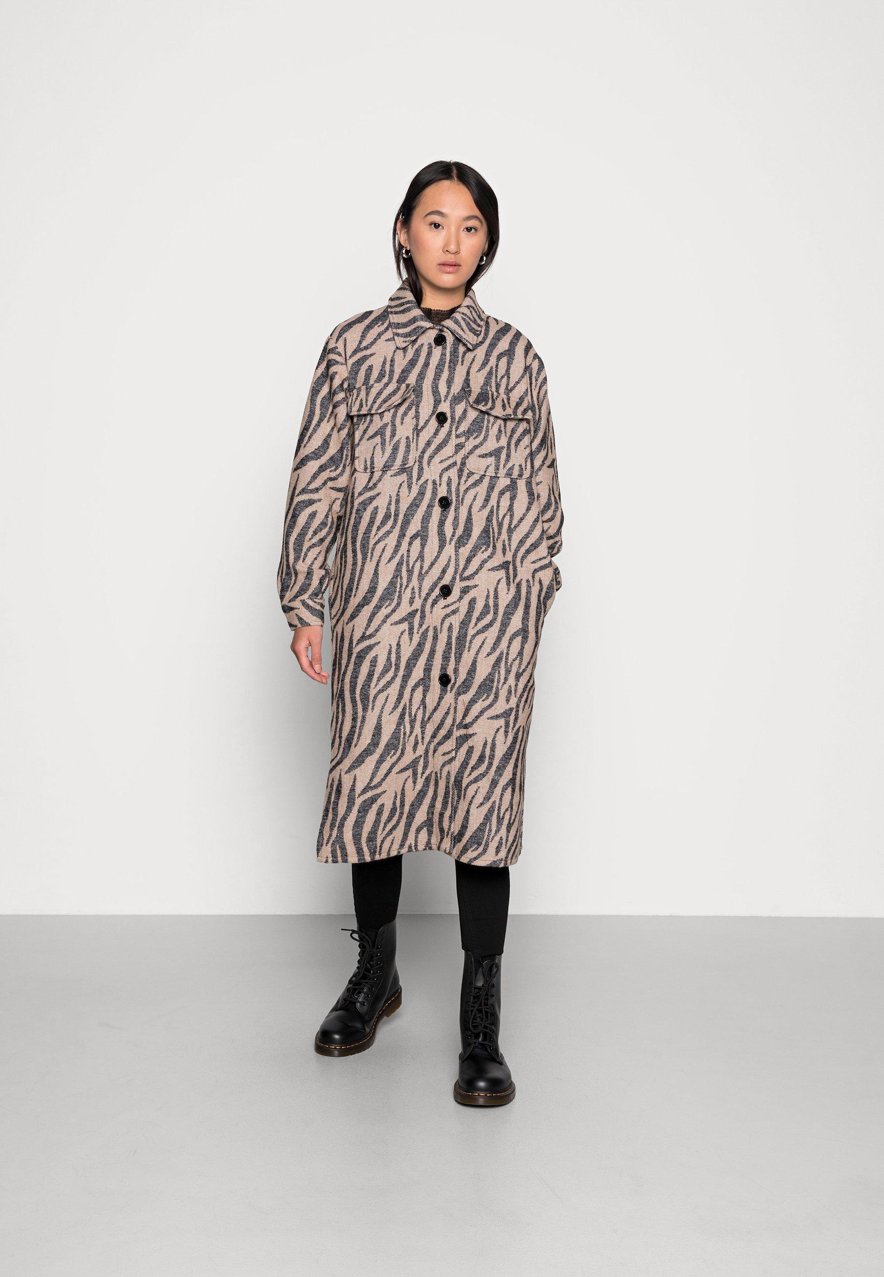 Women UMALA LONG CHECK JACKET - Classic coat - portabella detail black