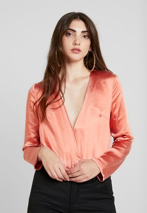 WRAP FRONT LONG SLEEVE - Blouse - rose