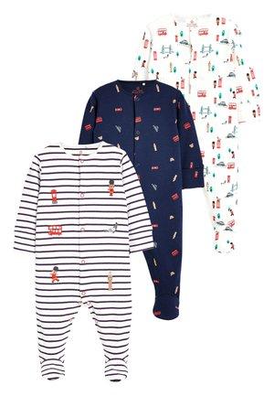 WHITE/BLUE/RED 3 PACK BUS PRINT SLEEPSUITS (0MTHS-2YRS) - Pyjamas - blue