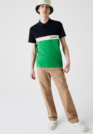 Polo shirt - bleu marine / vert / beige