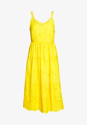 DRESS WITH EMROIDERY ANGLAISE - Day dress - spring gold