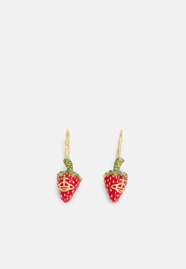 LEONELA DROP EARRINGS - Korvakorut - gold-coloured/olivine red/green