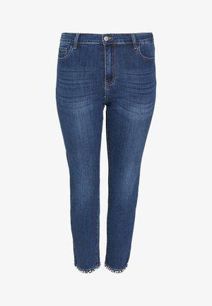MIT PERLEN-STREIFEN - Slim fit jeans - denim
