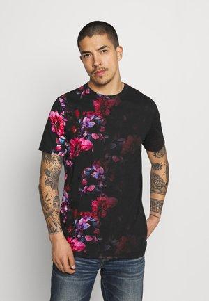 JANNON - T-shirt z nadrukiem - black/pink