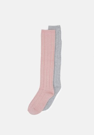 2 PACK - Knee high socks - pink/light grey melange
