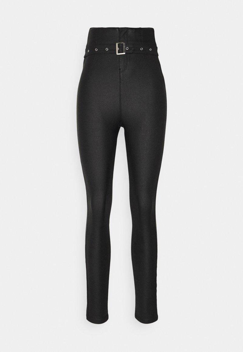 Missguided Tall - CORSET BELT COATED VICE - Pantalones - black