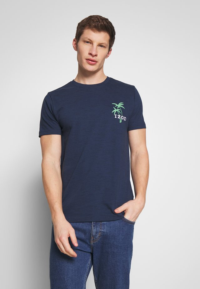SLUB PALM TREE TEE - T-shirt z nadrukiem - cadet navy