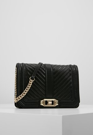 CHEVRON QUILTED SMALL LOVE - Across body bag - black