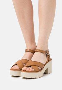 mtng - EMELINE - Platform sandals - marron - 0