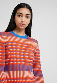 McQ Alexander McQueen - STRIPED DRESS - Jumper dress - orange/skate blue