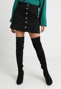 New Look Petite - BUTTON SKIRT - A-line skirt - black - 0