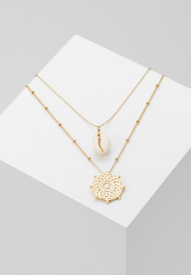 SHELL & PALM TAG 2 ROW - Collana - pale gold-coloured