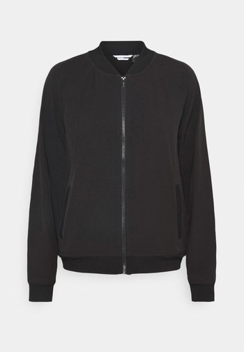 STRIPED LOGO ZIP UP BOMBER - Training jacket - black