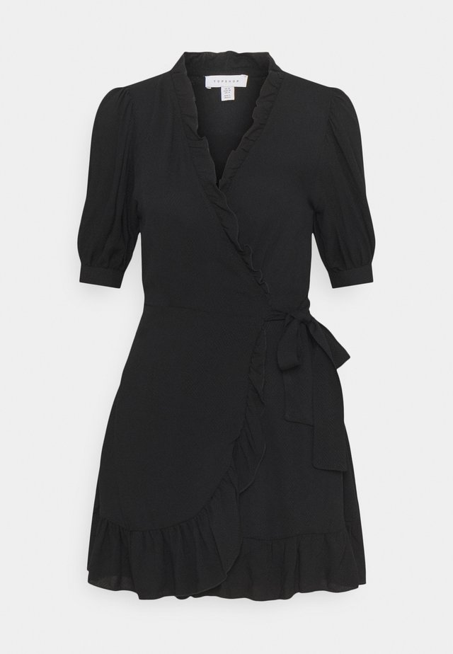 FRILL WRAP MINI - Shirt dress - black