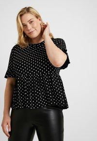 New Look Curves - SPOT PEPLUM TEE - T-shirt imprimé - black - 0