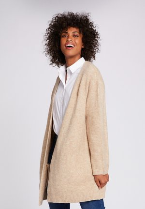 STRAIGHT WITH LONG SLEEVES - Chaqueta de punto - beige