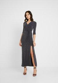Club L London - WRAP SPARKLE TIE FRONT MAXI DRESS - Maxi dress - grey - 0