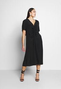 Cotton On Curve - CURVE MARISSA GATHERED FRONT MIDI DRESS - Day dress - black - 0