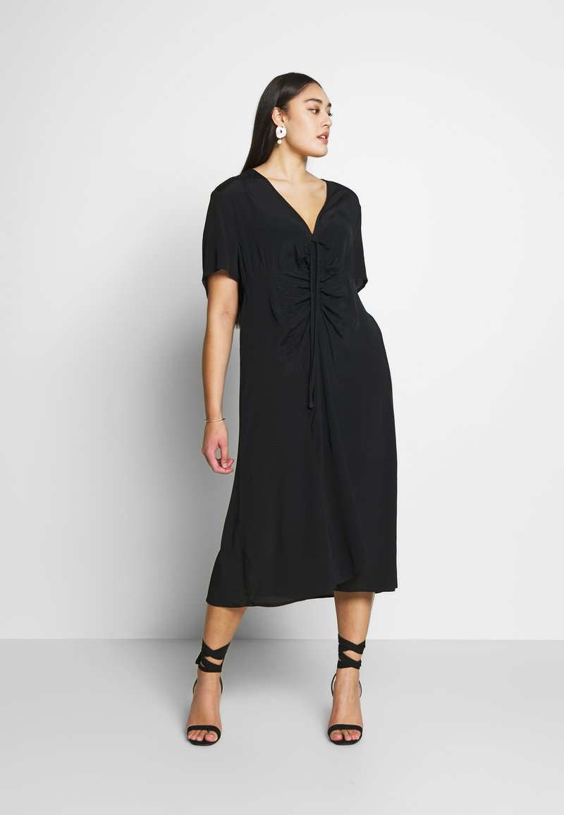 Cotton On Curve - CURVE MARISSA GATHERED FRONT MIDI DRESS - Day dress - black