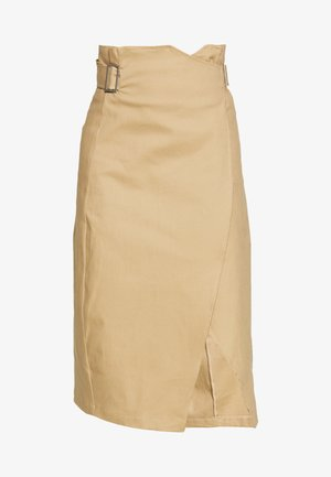 BELTED BUCKLE WRAP MIDI SKIRT - A-line skirt - beige