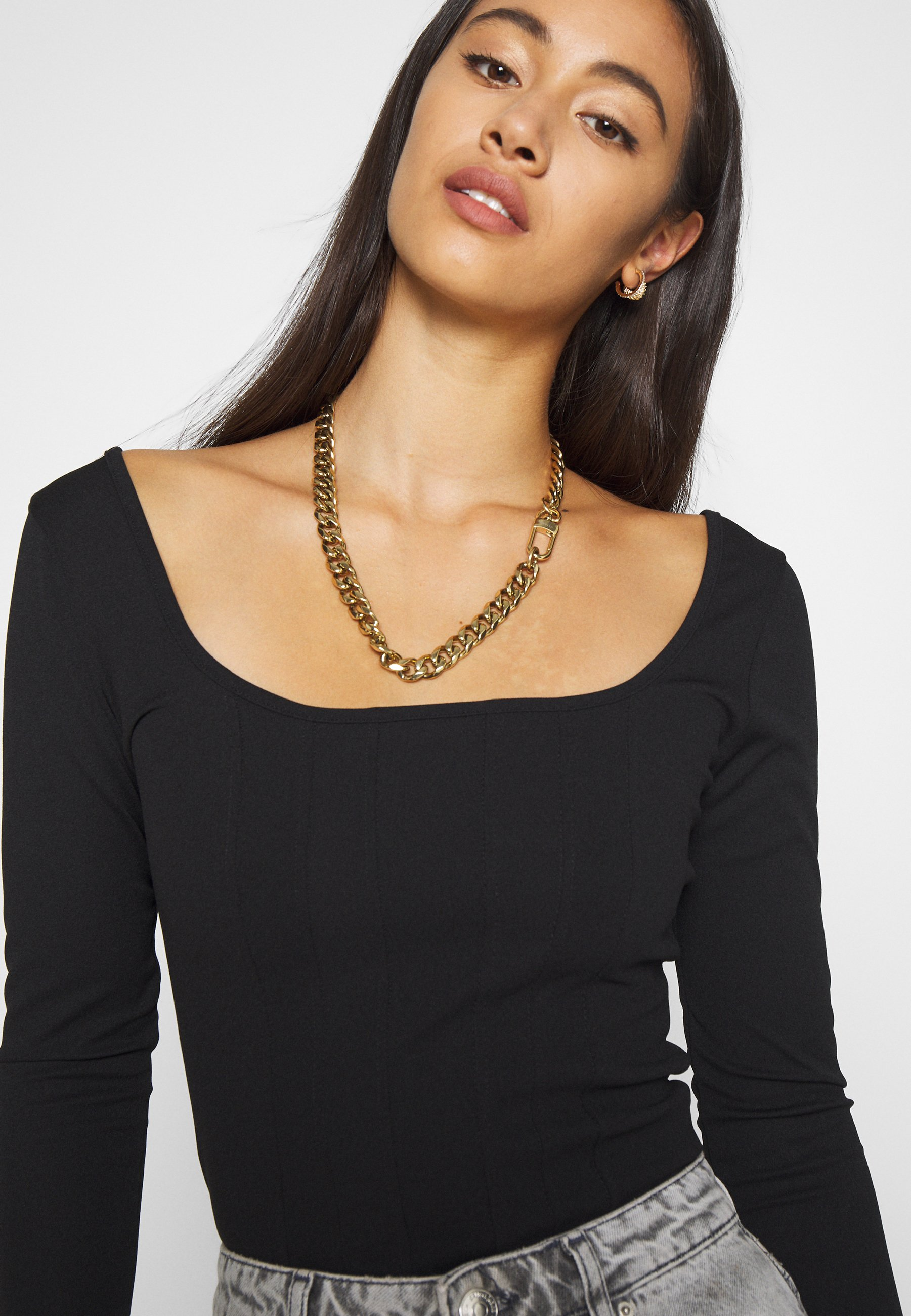 Missguided Crepe Long Sleeve Corset Bodysuit - T-shirts Med Print Black/svart