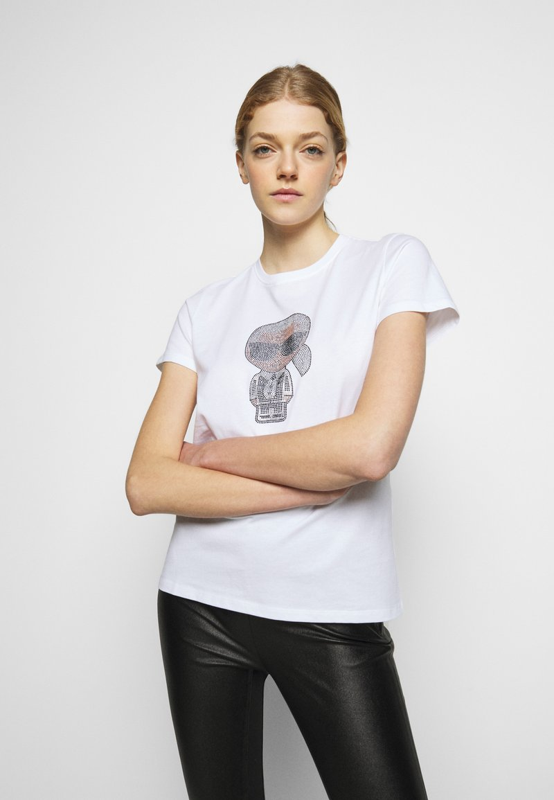 KARL LAGERFELD - IKONIK RHINESTONE KARL - Print T-shirt - white