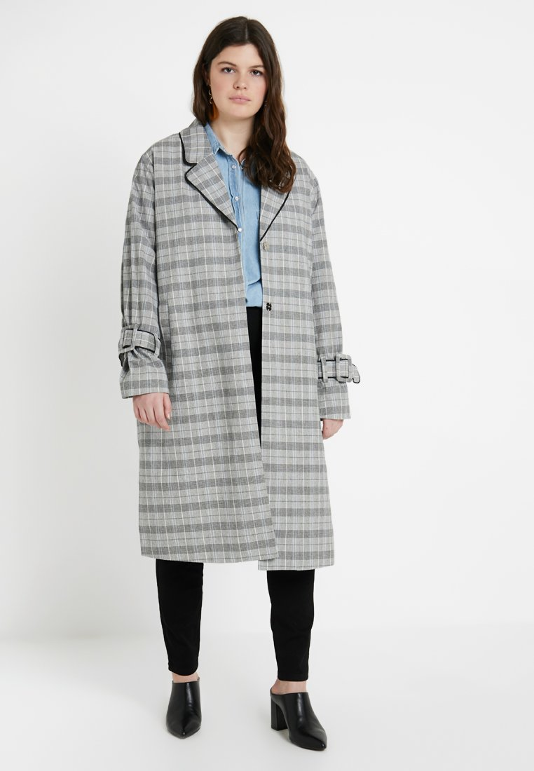 Ciso CHECKED COAT Kåpe frakk off whitegreenyellow