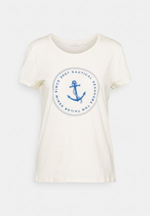 ORGANIC BASIC PRINT TEE - Print T-shirt - soft creme beige