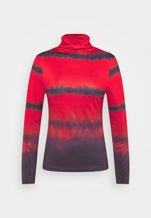 RUCHED TURTLENECK - Long sleeved top - red tie dye