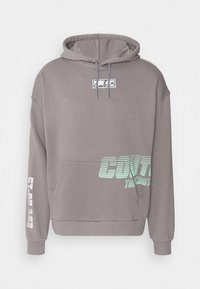 RELAXED FIT GRAPHIC POCKET HOODIE WITH REMOVEABLE RUBBER BRANDIN - Hoodie - grey