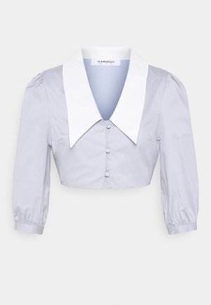CROP WITH CONTRAST COLLAR - Button-down blouse - light blue