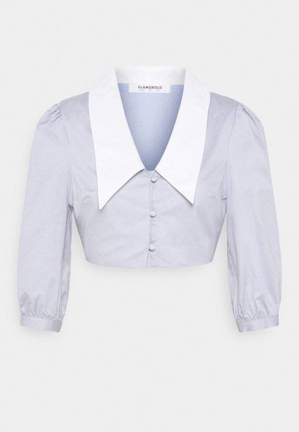 Glamorous CROP WITH CONTRAST COLLAR - Koszula - light blue/jasnoniebieski UTPO
