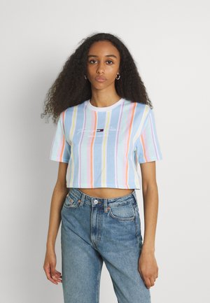 STRIPE CROP TEE - Print T-shirt - light powdery blue