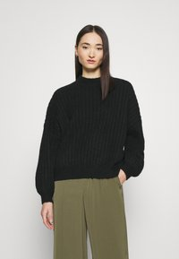 Even&Odd - OVERSIZED WIDE RIB JUMPER - Jumper - black - 0