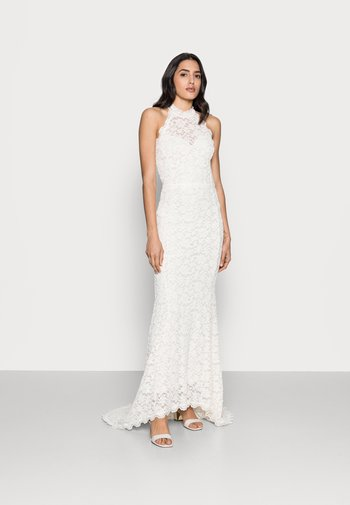 LONG HALTERNECK LACE DRESS - Společenské šaty - ivory
