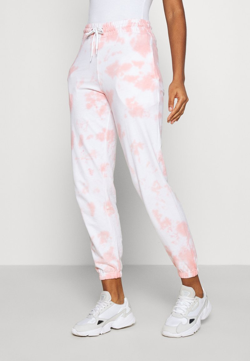 New Look - TIE DYE  - Tracksuit bottoms - mid pink