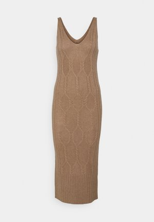 MAXI SLEEVELESS PATTERNED DRESS - Pletené šaty - dark beige