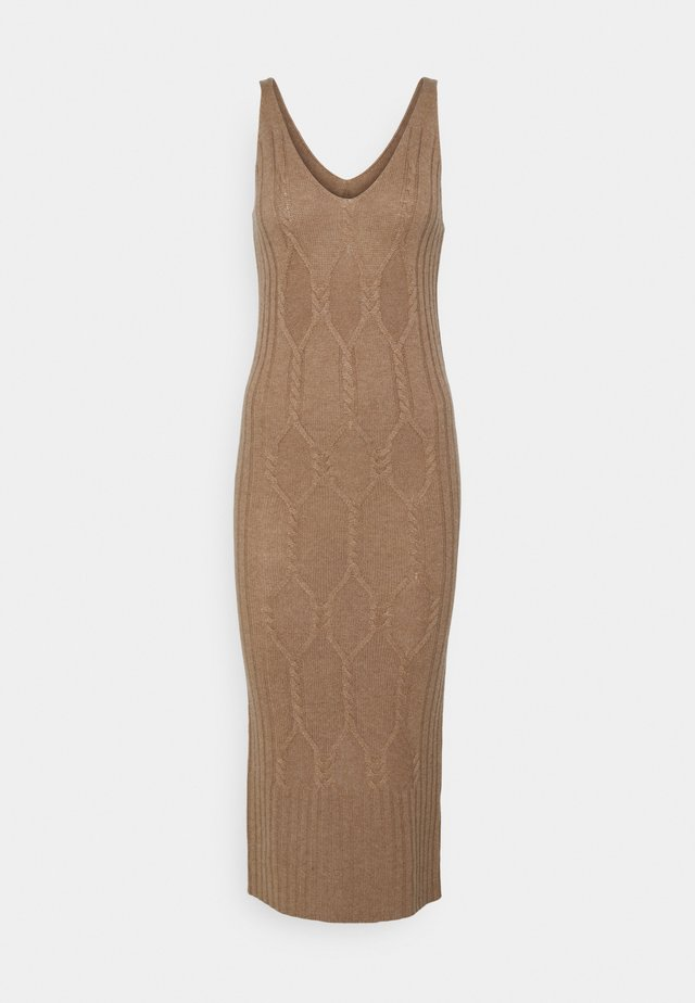 MAXI SLEEVELESS PATTERNED DRESS - Abito in maglia - dark beige