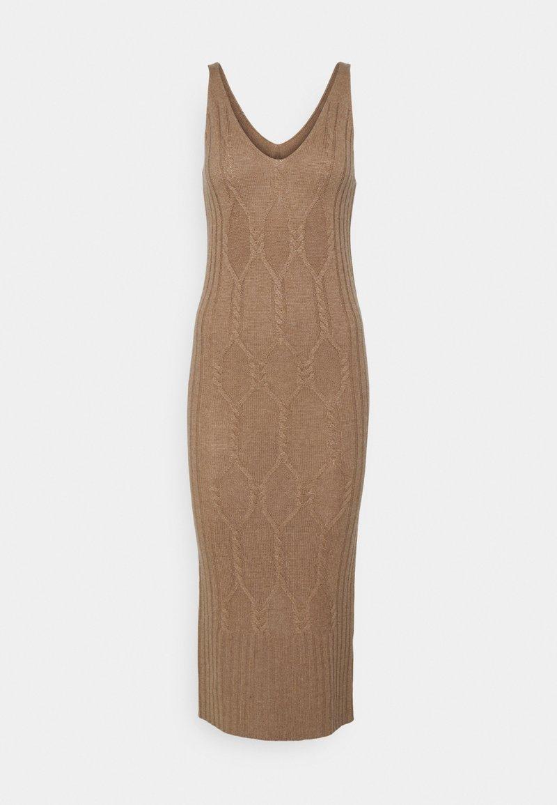 pure cashmere - MAXI SLEEVELESS PATTERNED DRESS - Jumper dress - dark beige