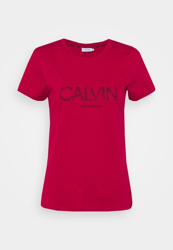 PRINT SLIM FIT - T-shirts med print - cerise/black