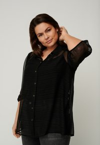 Zizzi - WITH 3/4 LENGTH PUFF SLEEVES - Button-down blouse - black - 0