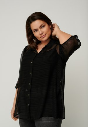 WITH 3/4 LENGTH PUFF SLEEVES - Button-down blouse - black