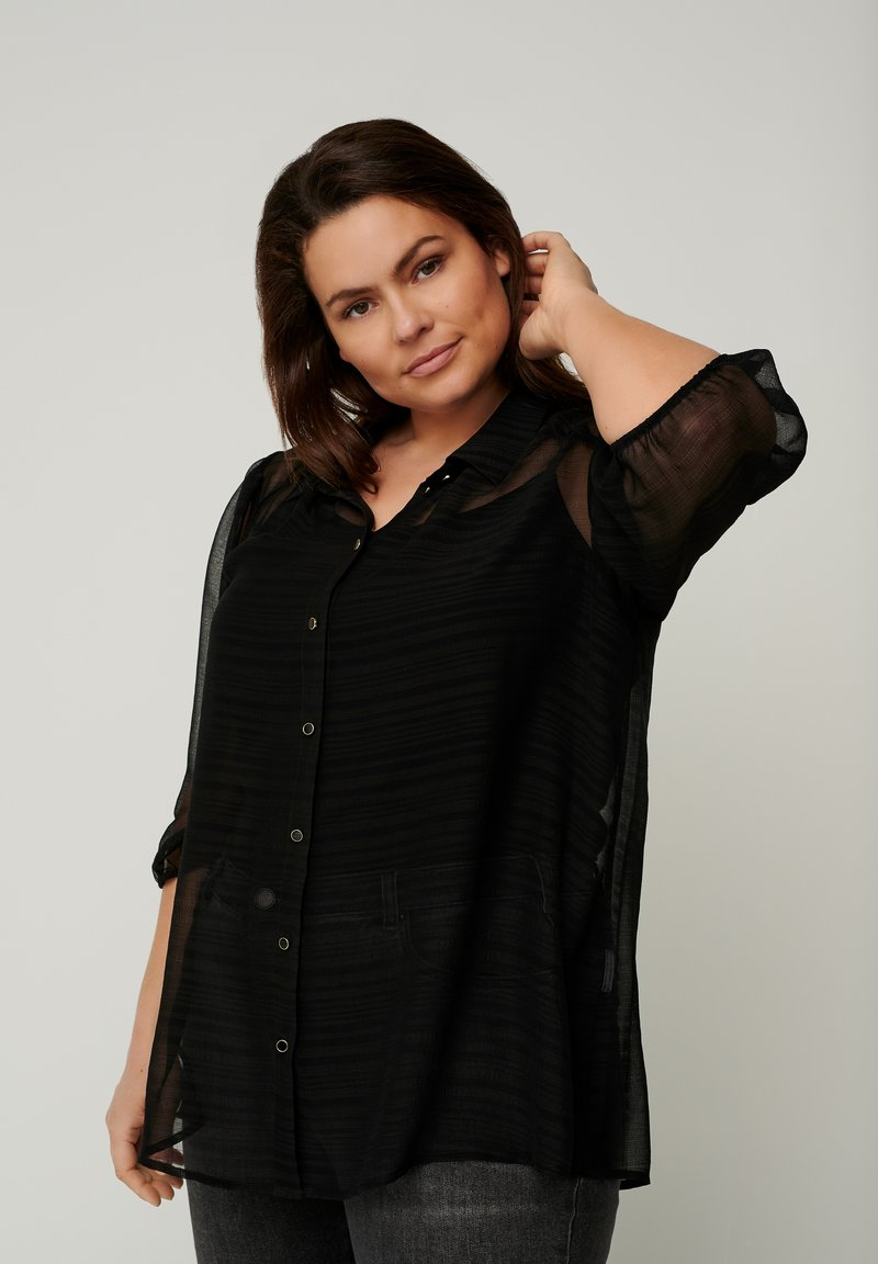 Zizzi - WITH 3/4 LENGTH PUFF SLEEVES - Button-down blouse - black