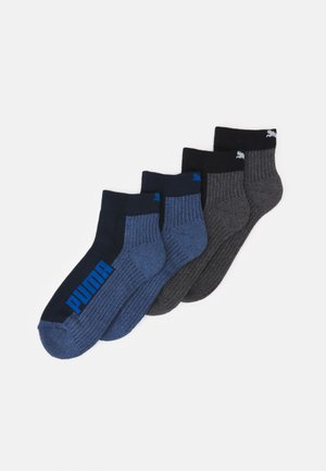 CUSHIONED QUARTER 4 PACK UNISEX - Sports socks - black/blue