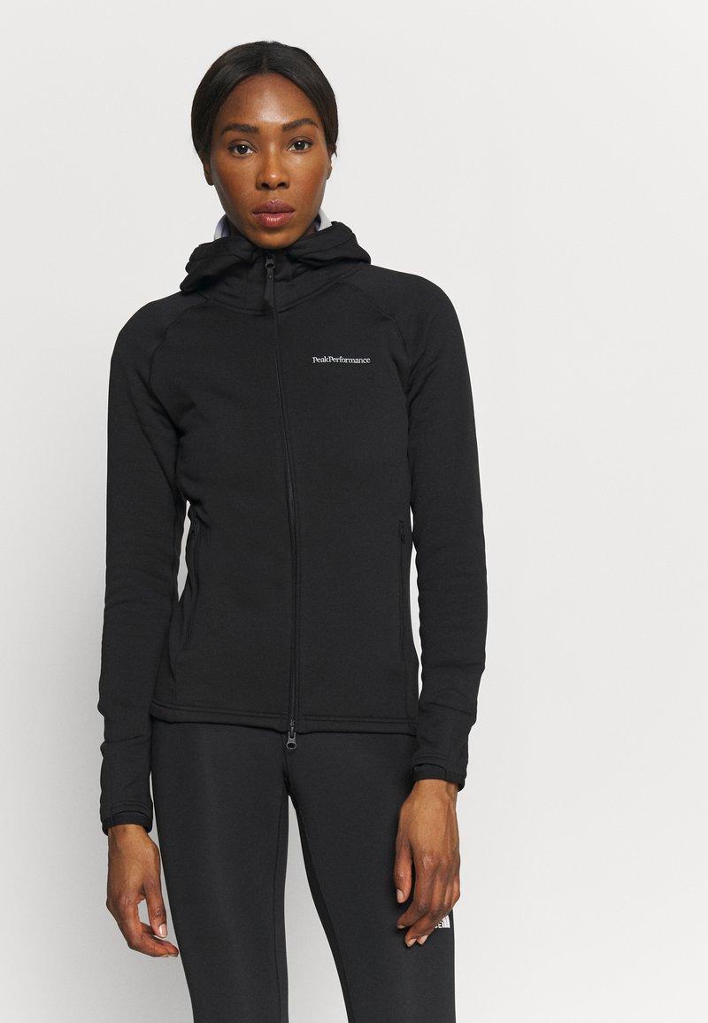 Peak Performance - CHILL ZIP HOOD - Fleece jacket - black