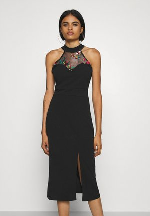 KAYDEN FLORAL DETAIL MIDI DRESS - Etuikjole - black